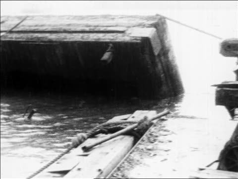 collapsed dock in water after storm / san francisco / newsreel - 1914 stock videos & royalty-free footage