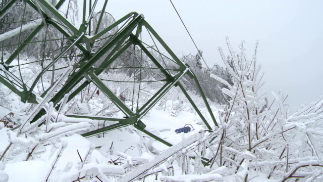 collapsed electricity pylon - frost stock videos & royalty-free footage