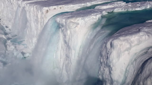 collapsed nansen ice wall and nansen waterfall - glacier stock videos & royalty-free footage