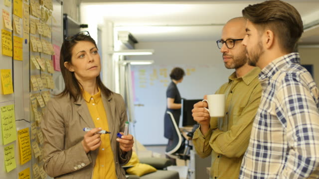 Colleagues discussing over adhesive notes stuck on whiteboard