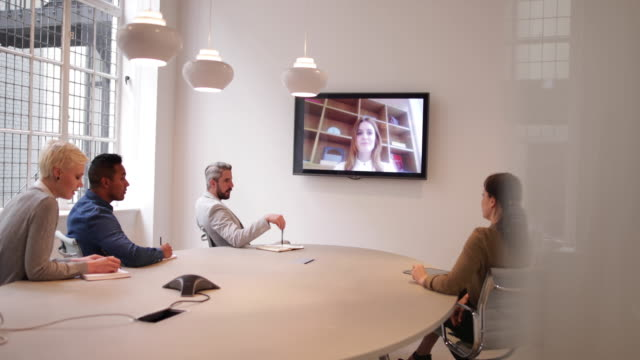 Colleagues on a video conference call in a business meeting