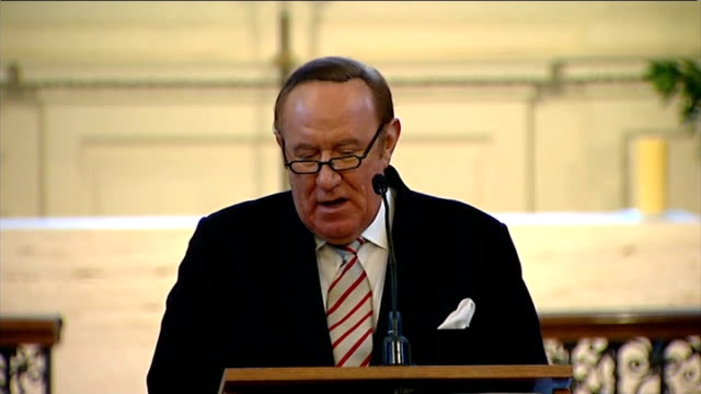 colleagues remember sir alastair burnet at memorial andrew neil speaking during service sot **stewart speaking overlaid sot** mark austin listening... - andrew neil stock videos & royalty-free footage