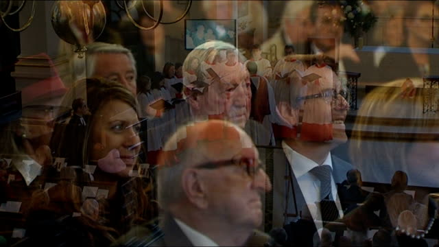 colleagues remember sir alastair burnet at memorial england london st martin in the fields church int **music heard sot** high angle view conductor... - david dimbleby stock videos & royalty-free footage