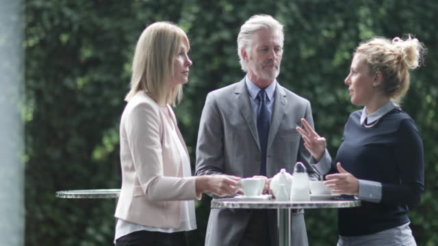 colleagues talking at an outdoor coffee reception - staff meeting stock videos and b-roll footage