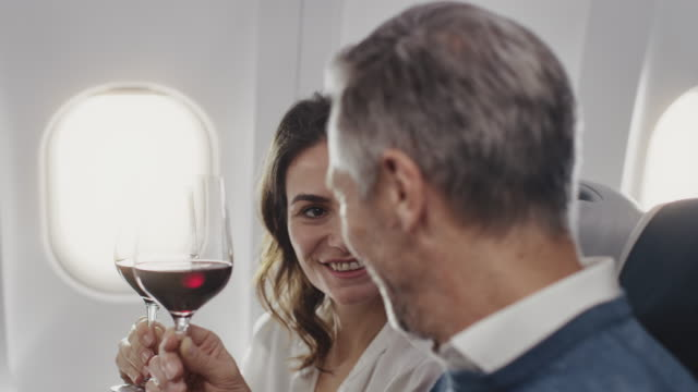 colleagues toasting wineglasses in private jet - passenger stock videos & royalty-free footage