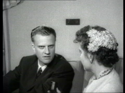 collection; 1955 collection; t061155 tx 6.11.55 fx evangelist billy graham interviewed location unknown: billy graham interviewed - i've come here to... - respect stock videos & royalty-free footage