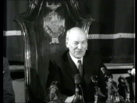 collection; 1955 collection; t081255 tx 8.12.55 fx clement attlee mp interviewed following his resignation as leader of the labour party england:... - robin day stock videos & royalty-free footage