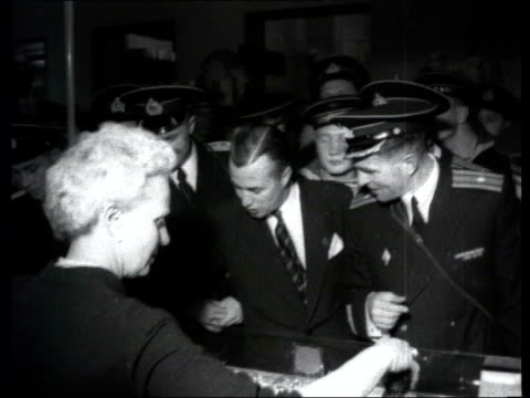 collection 1955 collection t141055 tx soviet sailors visit selfridges department store london double decker bus along past 'selfridges' department... - sailor hat stock videos & royalty-free footage