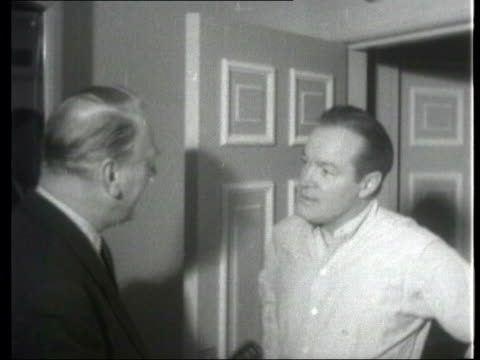 collection; 1955 collection; t141255 tx 14.12.55 fx comedian bob hope jokes as he is presented with a chest of tea as payment for one of his... - comedian stock videos & royalty-free footage