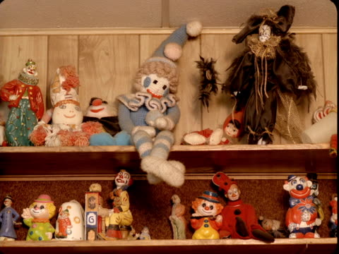 ms, collection of clown figurines on shelves, tonopah, nevada, usa - collection stock videos & royalty-free footage