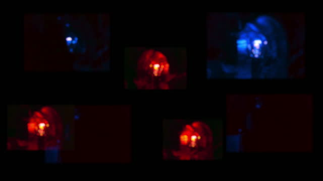 a collection of emergency blurred out of focus red and blue flashing vehicle light beacons. fire police ambulance lights. - flash stock videos & royalty-free footage