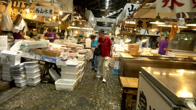 Collection of shots showing activities at fish market in the morning in Tokyo Editorial shots of sightseeing in Tokyo Japan in Summer 2015 NO