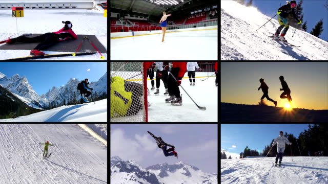 hd montage: collection of winter sport action - winter sport stock videos and b-roll footage