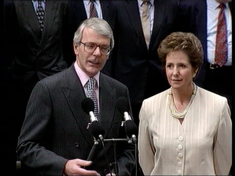 collection t04079501 471995 major wins leadership election john major mp with his wife norma major outside door to 10 downing street to podium after... - john major stock videos & royalty-free footage