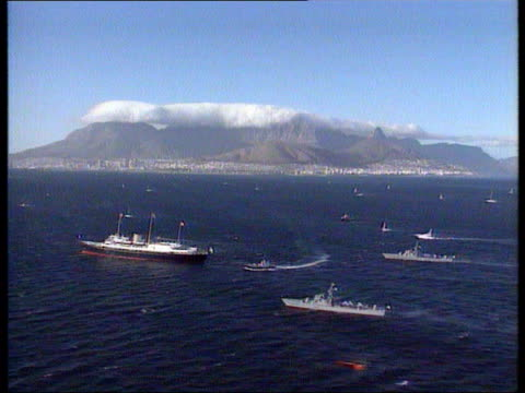 Collection T20039503 2031995 Queen Elizabeth II visits South Africa Cape Town Fireworks lighting up night sky over Cape Town harbour in honour of...