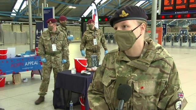collections for poppy day scaled back; england: london: waterloo: int lieutenant hattie arkwright interview sot - itv london lunchtime news stock videos & royalty-free footage