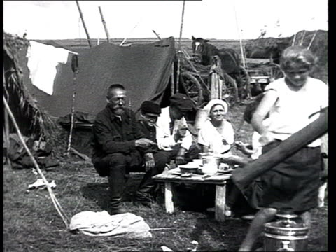collective workers and training. everyday life in a kolkhoz : harvestmen carrying scythes and sickles, peasants exercising w/ tools before... - drinking health 1930 film stock videos & royalty-free footage
