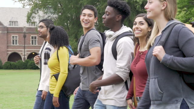 college student friends walking on campus - gruppo multietnico video stock e b–roll