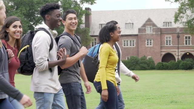 college student friends walking on campus - studente di scuola secondaria allievo video stock e b–roll