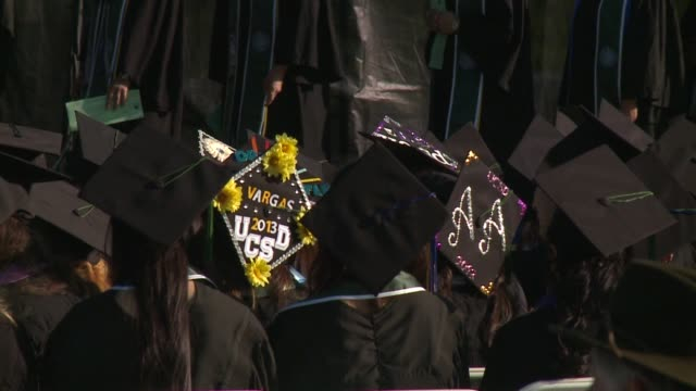 kswb college students graduate from university of california san diego on june 13 2015 - diploma stock videos & royalty-free footage