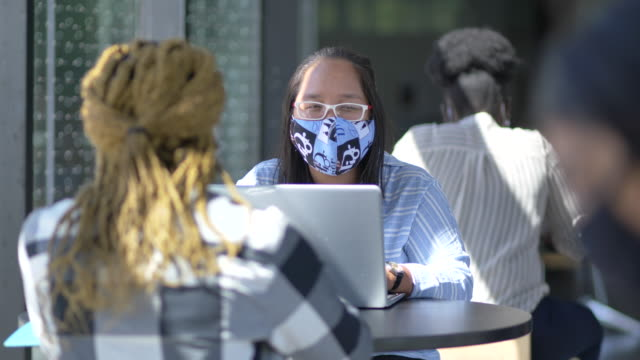 college students in protective face masks - fatcamera stock videos & royalty-free footage