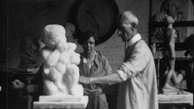 1925 pan college students in studio sculpting statues and turning pottery wheel at king edward vii school of art / newcastle upon tyne, england, united kingdom - artist stock videos & royalty-free footage