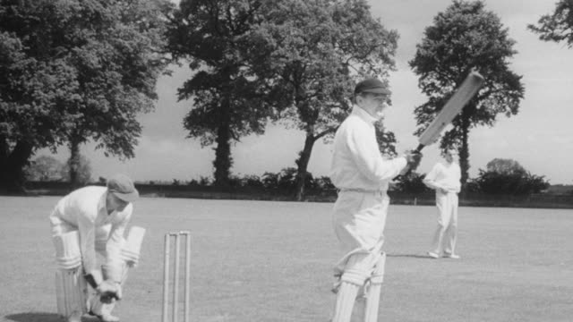 1948 montage college students playing and watching a cricket match / nottinghamshire, england, united kingdom - cricket stock videos & royalty-free footage