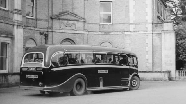 1948 montage college students traveling by bus and visiting cooperative organizations / worcestershire, england, united kingdom - worcestershire stock videos and b-roll footage
