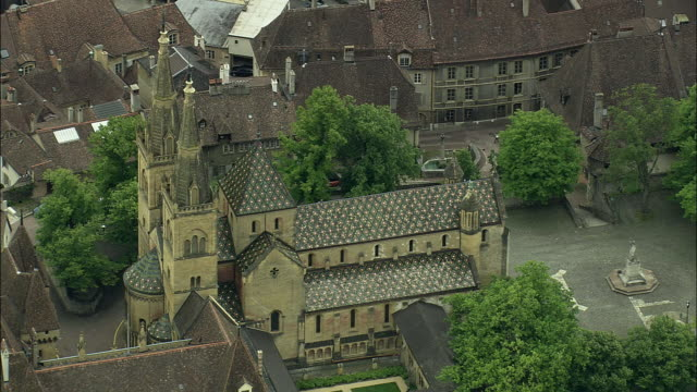 aerial collegiale church, neuchatel, vaud, switzerland - circa 13th century stock videos and b-roll footage