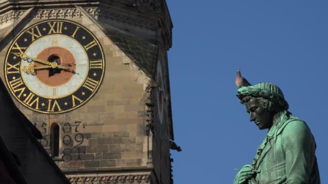 Collegiate Church, Stiftskirche Stuttgart, with Schiller Statue on Schillerplatz Square, Stuttgart, Baden-Wuerttemberg, Germany