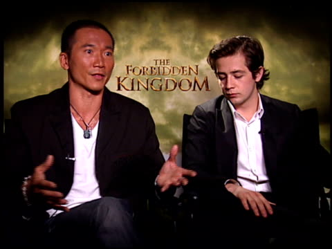collin chou and michael angarano on collin's character at the 'forbidden kingdom' junket at the four seasons hotel in los angeles, california on... - four seasons hotel stock videos & royalty-free footage