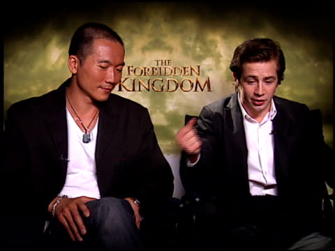 collin chou and michael angarano on on michael's training and the way in which his character's journey mirrors his own at the 'forbidden kingdom'... - four seasons hotel stock videos & royalty-free footage