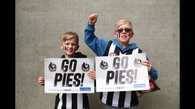 Collingwood fans pose ahead of the 2018 AFL Grand Final match between the Collingwood Magpies and the West Coast Eagles at Melbourne Cricket Ground...