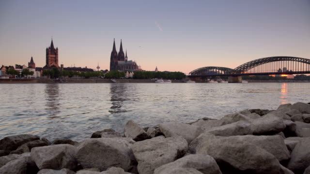 ts cologne at dawn - river rhine stock videos & royalty-free footage