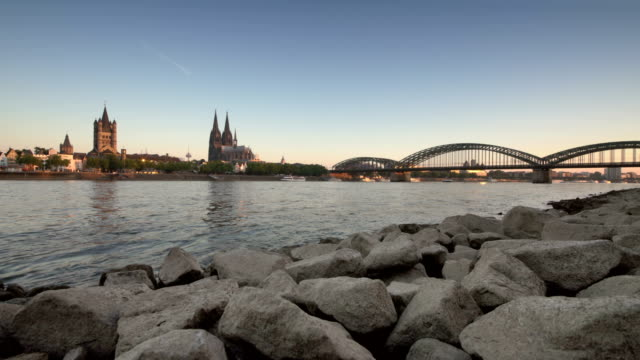 cologne at dawn - river rhine stock videos & royalty-free footage