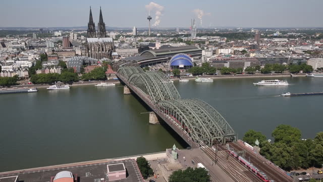 cologne cathedral and hohenzollern bridge - german culture stock videos & royalty-free footage