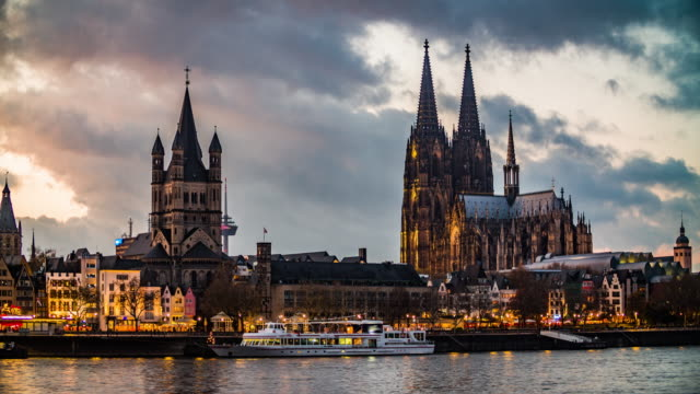 cologne cathedral and st martins church at dusk - gothic stock videos & royalty-free footage