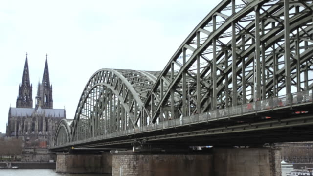 Cologne Cathedral, Germany, Rhine River and Hohenzollern Bridge (HD720p)