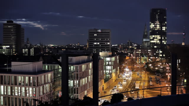 (realtime) cologne city at night - office building exterior stock videos and b-roll footage