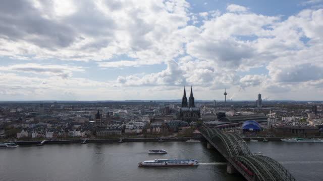 Cologne Dome and Rhein river bridge panorama