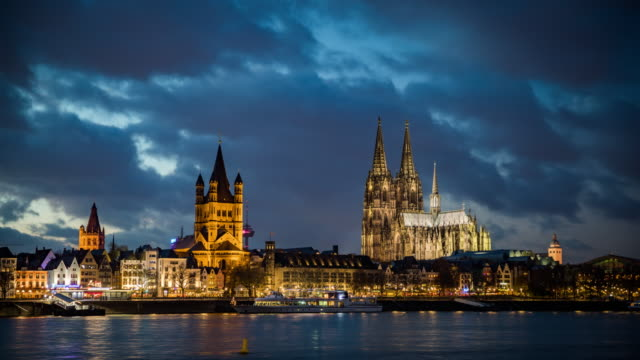 cologne skyline - day to night time lapse - north rhine westphalia stock videos & royalty-free footage