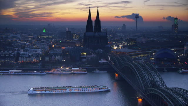 cologne skyline - river rhine stock videos & royalty-free footage