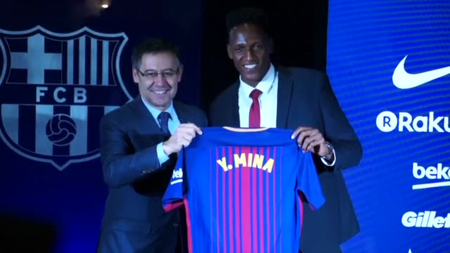 colombia centre back yerry mina is unveiled by barcelona after signing from brazilian side palmeiras on a five year contract for a fee of 118 million... - fee stock videos and b-roll footage