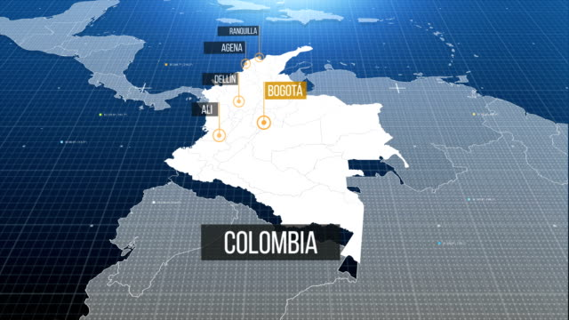 colombia map - colombia stock videos & royalty-free footage