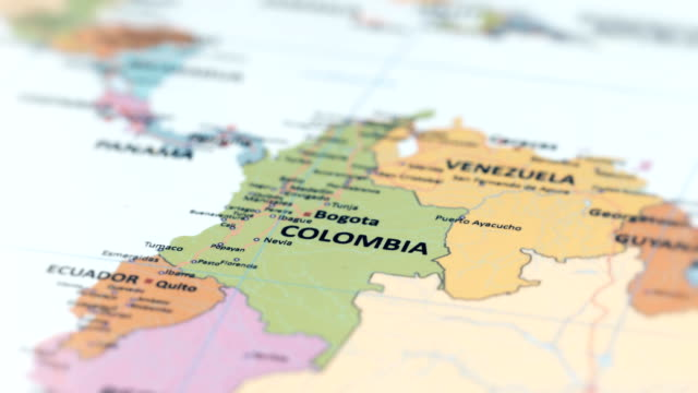 south america colombia on world map - america latina video stock e b–roll