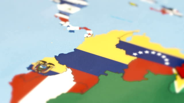 Colombia with National Flag on World Map