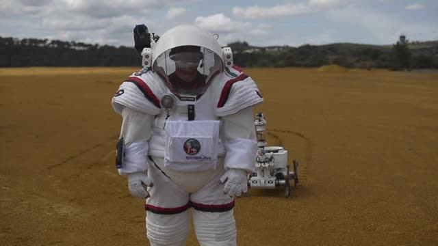 Colombian astronaut Diego Urbina tests the Gandolfi 2 spacesuit during the Moonwalk projects first Mars mission simulation in the southwestern...