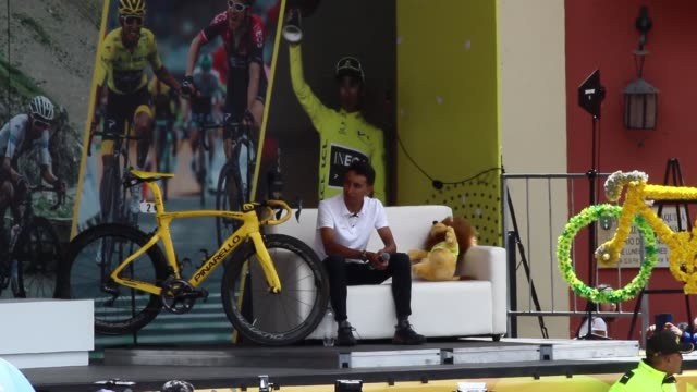 colombian cyclist egan bernal during the 106° tour de france champion welcome celebration on august 07, 2019 in zipaquira, colombia. - tour de france stock videos & royalty-free footage