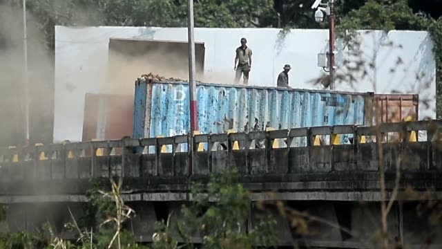colombian defense minister guillermo botero shares his concerns over the failing structure that forms the simon bolivar border bridge due to the... - venezuela stock videos & royalty-free footage