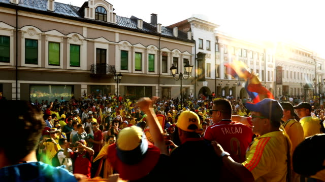 colombian fans make their way through the streets of kazan. colombia plays poland on the 24th in kazan - fifa world cup stock videos & royalty-free footage